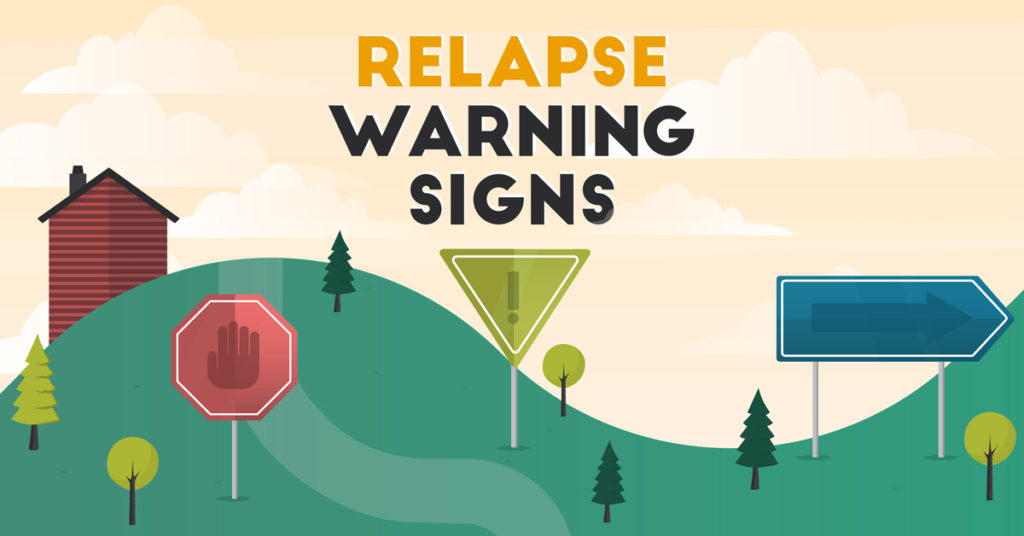 Illustrated header image for Relapse Warning Signs infographic by UWA.