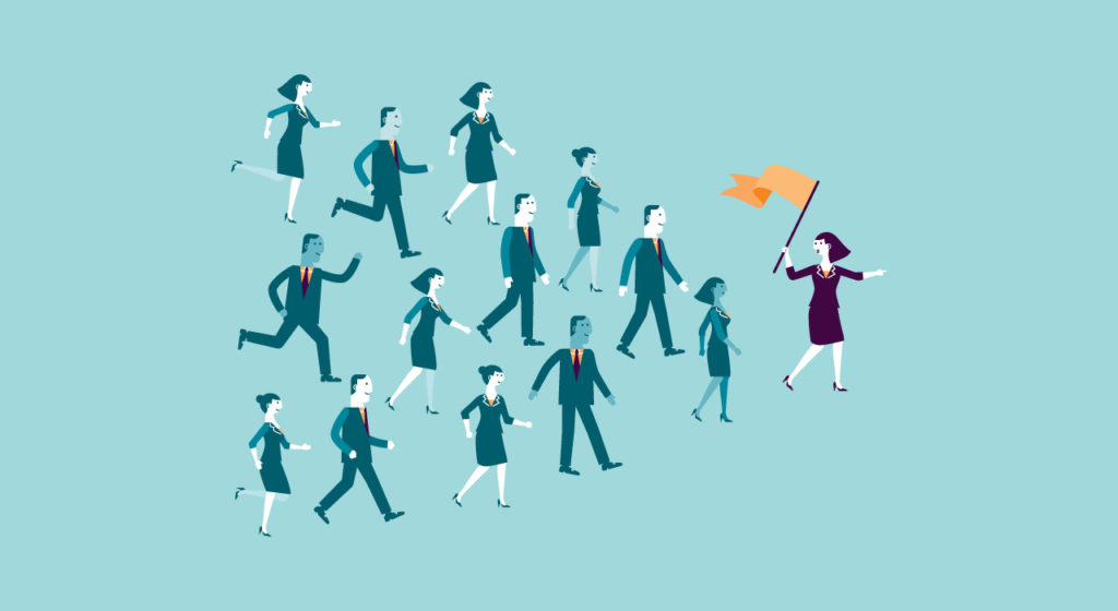 Illustration: business woman holding a flag leads her employees.