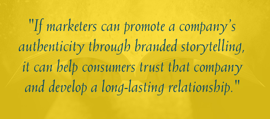 Storytelling and content quote graphic.