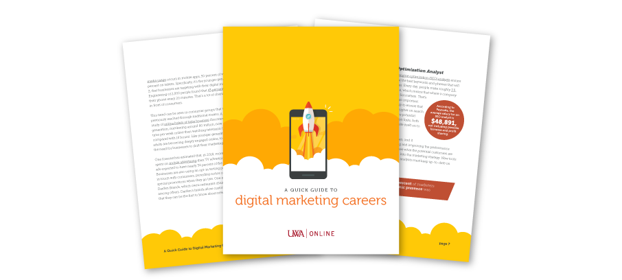 Preview of UWA's Digital Marketing Careers Guide including cover and inside pages with stats and illustrations.