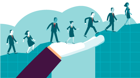 Illustration of diverse business professionals in suits climbing a hill.