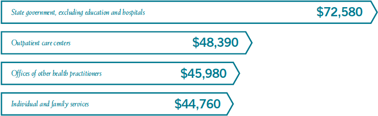 Marriage and Family Therapists salaries by industry: State government, excluding education and hospitals$72,580Offices of other health practitioners$48,390,Offices of other health practitioners$45,980,Individual and family services$44,760.