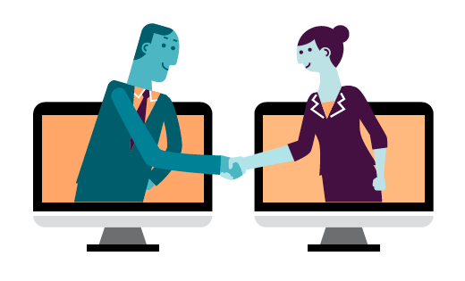 Male and female business professionals projecting out of computer monitors shake hands.