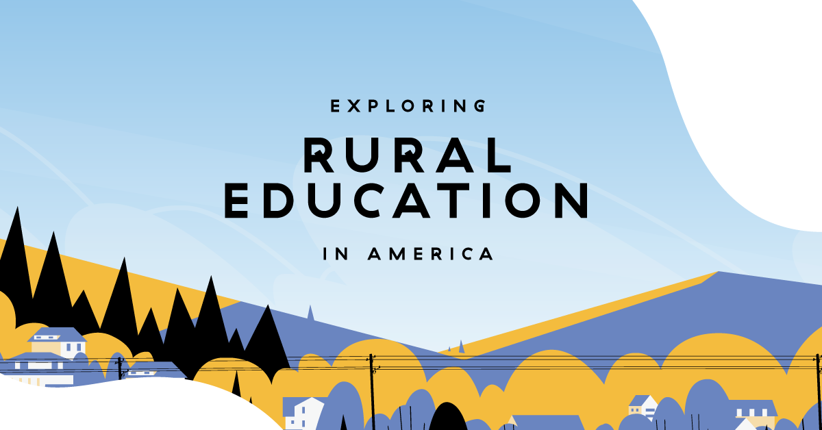 "Illustrated title card of woods, hills and a small town with title text ""Exploring Rural Education in America""."